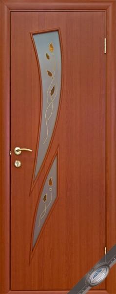 Дверное полотно ламинированное Камея с витражным стеклом