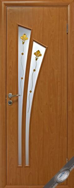 Дверное полотно ламинированное Лилия с витражным стеклом