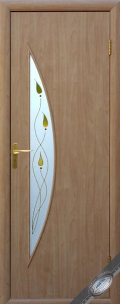 Дверное полотно ламинированное Луна с витражным стеклом