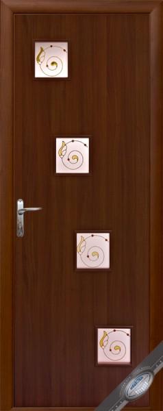 Дверное полотно ламинированное Ронда с витражным стеклом