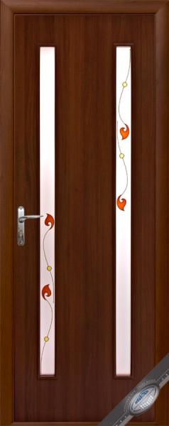 Дверное полотно ламинированное Вера с витражным стеклом