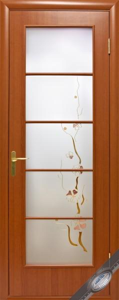 Дверное полотно ламинированное Виктория с витражным стеклом