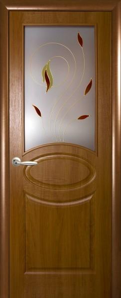 Дверное полотно, покрытое ПВХ пленкой Фортис овал со стеклом