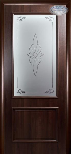 Дверное полотно, покрытое ПВХ пленкой Интера Вилла со стеклом