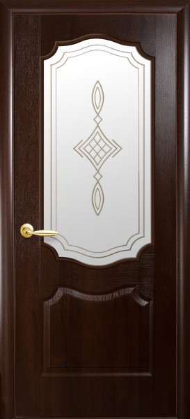 Дверное полотно, покрытое ПВХ пленкой, со стеклом Фортис вензель