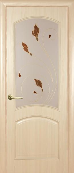 Дверное полотно, покрытое ПВХ пленкой, со стеклом Интера Аве