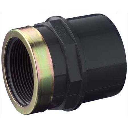 """Двойной муфтовый адаптер из ПВХ с внутренней резьбой с металлическим кольцом d20 x 16 x 1/2"""""""