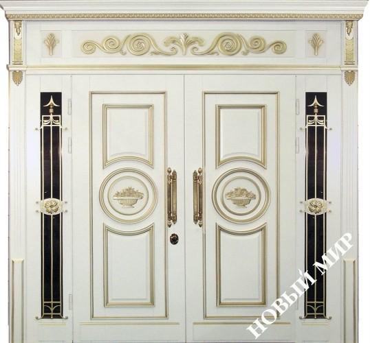 ДВОРЦОВАЯ - дверь входная стальная облицовка дуб, стекло пакет и решетка