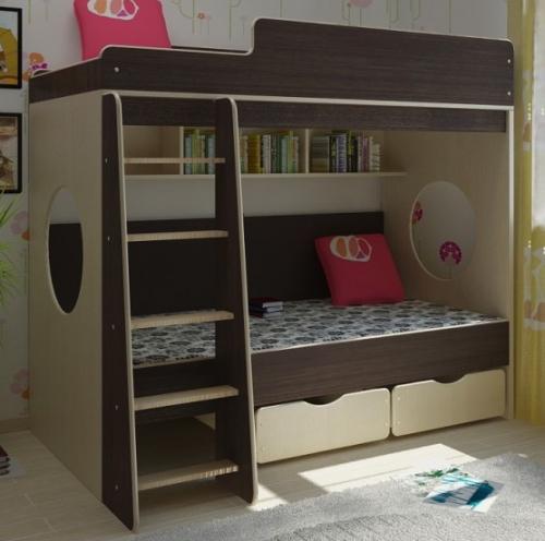 Двухъярусные кровати детские, новые от производителя, из дсп, мдф, шпона и массива дерева.