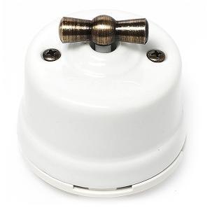 Двухклавишный выключатель фарфоровый поворотный ретро для наружного монтажа, цвет белый - открытая проводка, винтаж