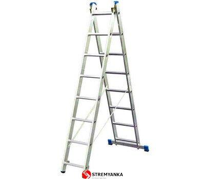 Фото  1 Двухсекционная расставная лестница KRAUSE Stabilo 2x9 ступеней 2234202