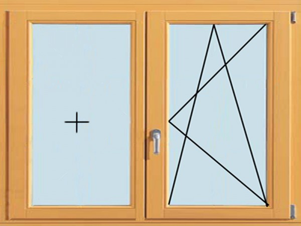 Двухстворчатое окно, поворотно-откидное с глухим (от 1200х1200 мм)