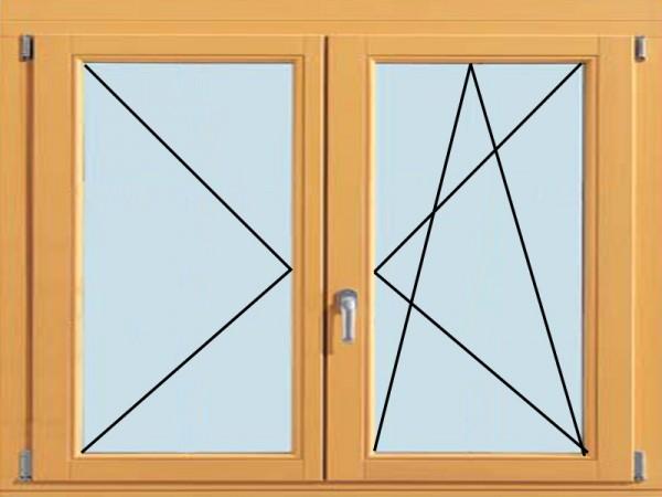 Двухстворчатое окно, поворотно-откидное с поворотным (от 1200х1200 мм)