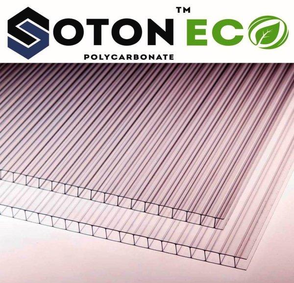 Фото 1 Сотовый поликарбонат тепличный SOTON ECO 4 - 10 mm (прозр/бронз) 341648