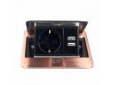 Фото  1 Врезная розетка с крышкой ElectroHouse 1x220V 2xUSB, античная медь 2063228
