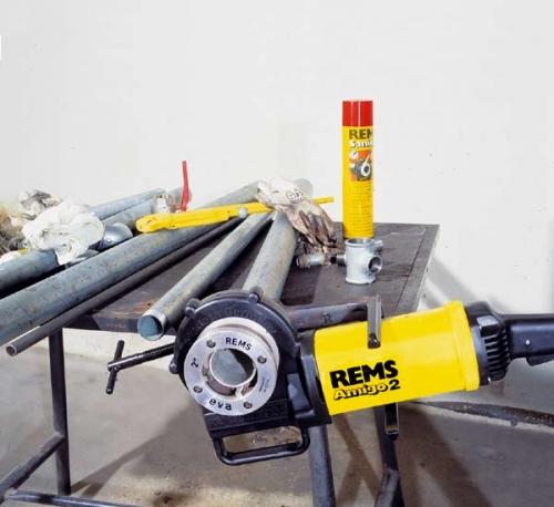 Электрический резьбонарезной клупп с быстросменными головками REMS Амиго 2 Трубная резьба 1/8–2, 16–50 мм.