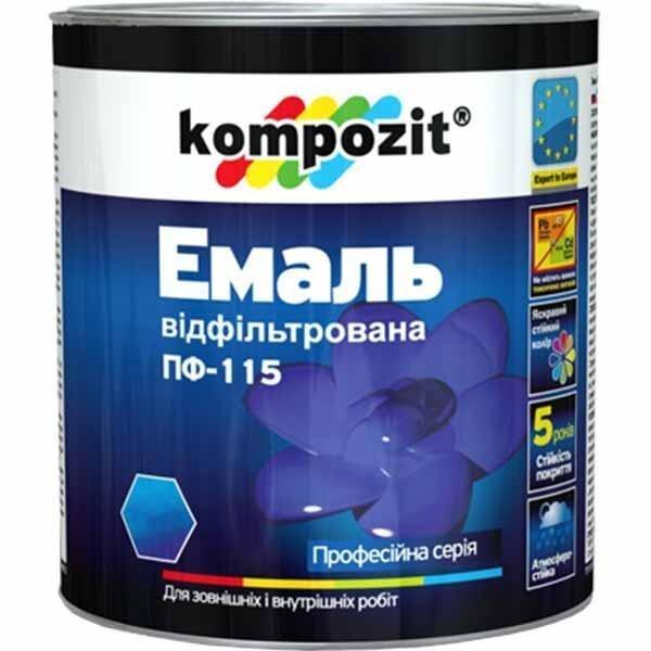 Фото  1 Эмаль ПФ-115 Kompozit (коричневый, 12 кг) (доставка только по Киеву и Киевской области) 1906641