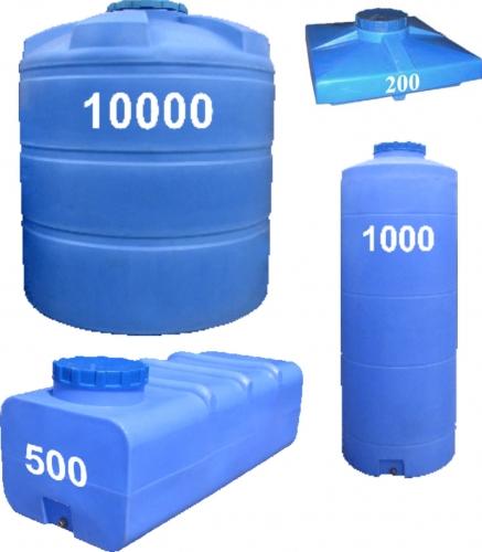 ЕМКОСТИ пластиковые для воды, пищевых и хим. продуктов.