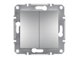 Фото  1 Выключатель двухклавишный 10A Schneider Electric Asfora EPH0300161, алюминий 1925925