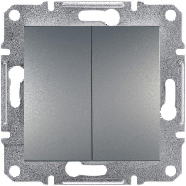 Фото  1 Выключатель двухклавишный 10A Schneider Electric Asfora EPH0300162, сталь 1925926
