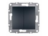 Фото  1 Выключатель двухклавишный 10A Schneider Electric Asfora EPH0300171, антрацит 1925928