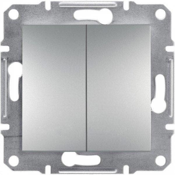 Фото  1 Переключатель двухклавишный 10А Schneider Electric Asfora EPH0600161, алюминий 1925943