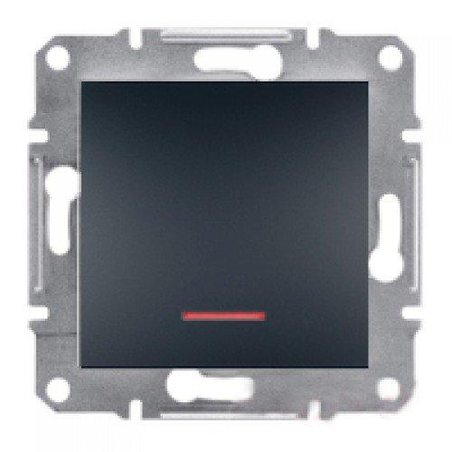 Фото  1 Выключатель одноклавишный с подсветкой Schneider Electric Asfora EPH1400171, антрацит 1925970