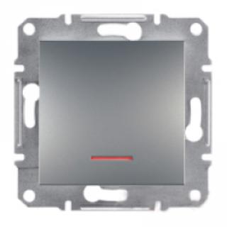 Фото  1 Переключатель одноклавишный с подсветкой Schneider Electric Asfora EPH1500162, сталь 1925974