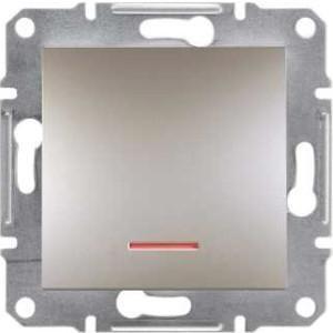 Фото  1 Переключатель одноклавишный с подсветкой Schneider Electric Asfora EPH1500169, бронза 1925975