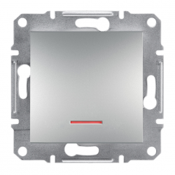 Фото  1 Переключатель кнопочный с подсветкой Schneider Electric Asfora EPH1600161, алюминий 1925979