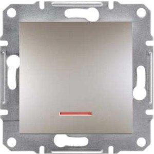 Фото  1 Переключатель кнопочный с подсветкой Schneider Electric Asfora EPH1600169, бронза 1925981
