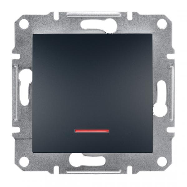 Фото  1 Переключатель кнопочный с подсветкой Schneider Electric Asfora EPH1600171, антрацит 1925982