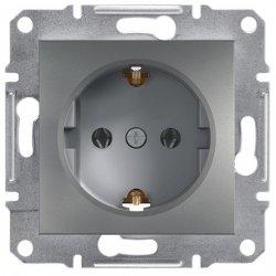 Фото  1 Розетка з/к с защ.шторками 16А Schneider Electric Asfora EPH2900262, сталь 1925992