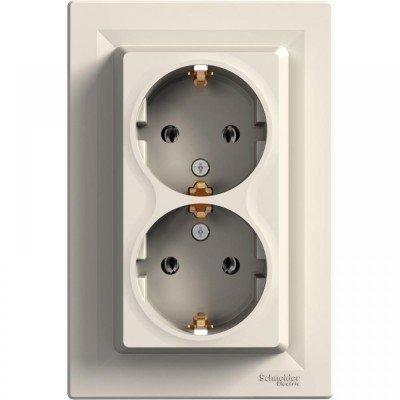 Фото  1 Розетка двойная с з/к Schneider Electric Asfora EPH9900123, кремовый 1926150