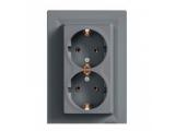 Фото  1 Розетка двойная с з/к Schneider Electric Asfora EPH9900162, сталь 1926152