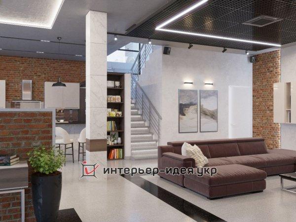 Фото 1 Дизайн кухни-студии в стиле лофт 330208