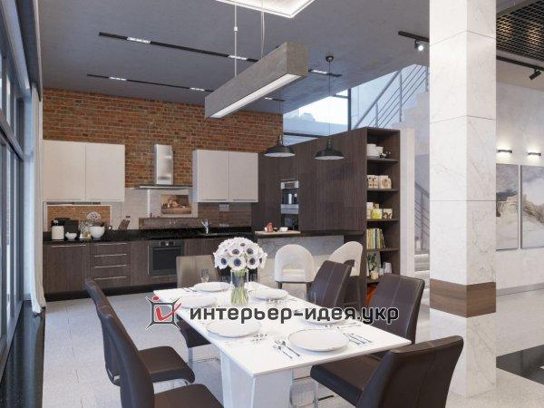 Фото 2 Дизайн кухни-студии в стиле лофт 330208