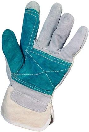 FALCO, перчатка из серого спилка с дополнительным усилением зеленым спилком на ладони