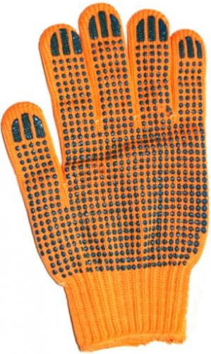 FALO ORANGE, вязаные перчатки без швов. Материал – оранжевый хлопок, ладонь и пальцы покрыты ПВХ точками