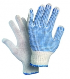 FALO, вязаные перчатки без швов. Материал–белый/черны й хлопок/пэ, ладонь и пальцы покрыты ПВХ точками