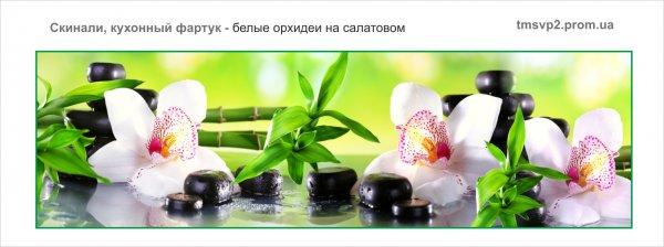 Стеклянный фартук, скинали для кухни - орхидеи на салатовом эскиз, замер, доставка, установка, гарантия