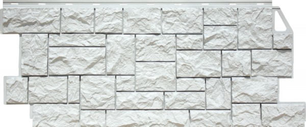 Фасадная панель Fineber Дикий камень Белый 1117*463 мм. Сайдинг