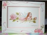 Картина в интерьер детской Фея с розами. Холст, акрил 20х30, в рамке с росписью. Общий размер 30х40см