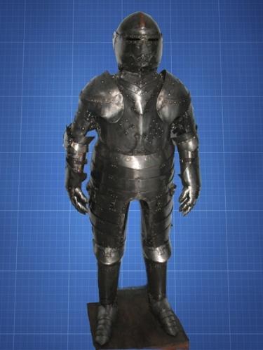 Французкий жандарм. Середина 16 века. Толщина доспеха 1,5мм. Вес 25 кг. Высота 180см.