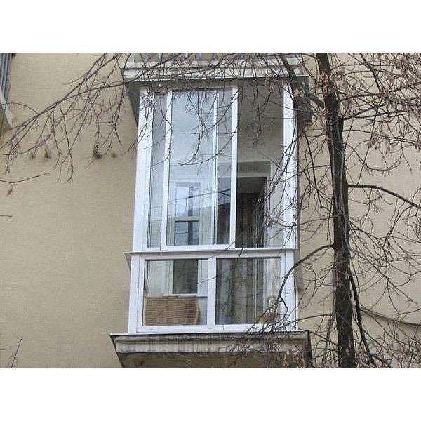 Фото  1 Французский балкон с раздвижной алюминиевой системой белый 1444803