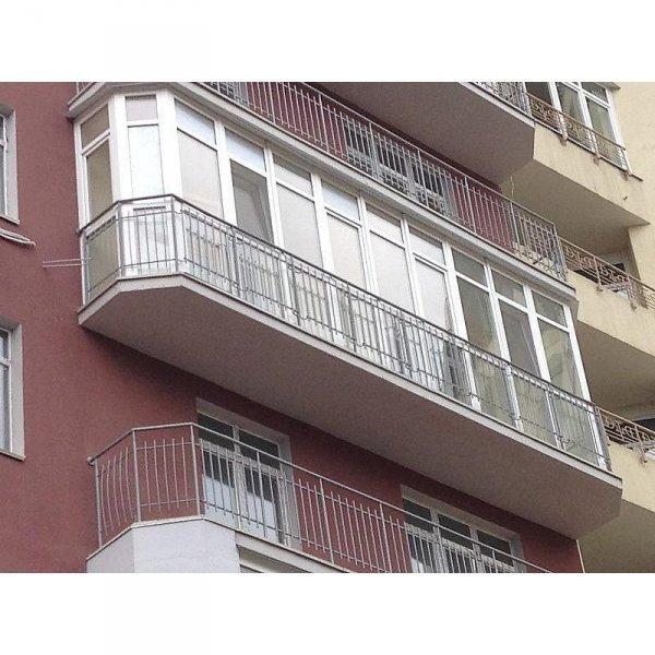 Французский балкон, Цвет: белый. Закруглённый п-образный