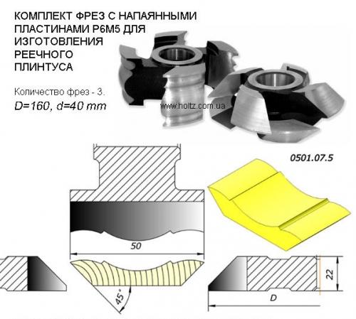 Фрезы для изготовления реечного плинтуса для четырехстороннего станка.