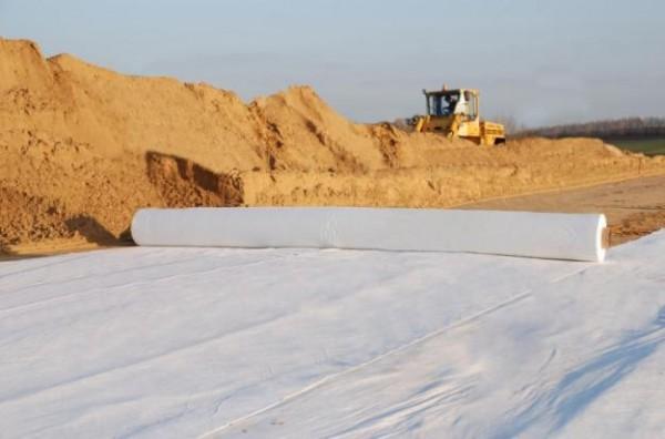 Геотекстиль иглопробивной 400 серый. Ширина рулона 2,1м. Доставка по Украине.