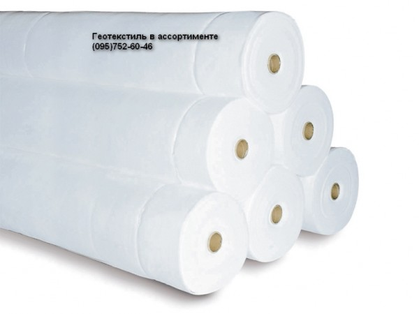 Геотекстиль иглопробивной фильерный. Плотность 100г/м. кв. Ширина рулона 4,35х125м.