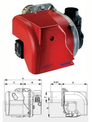 Горелки MAX на жидком топливе (дизтопливо), одноступенчатые: Технические характеристики: Мощность, кВт: 17,6 - 319